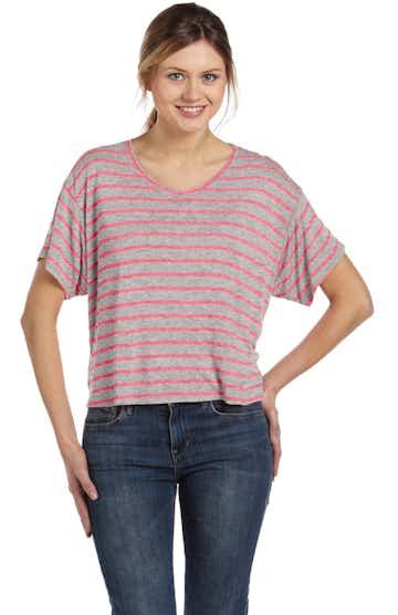 Bella + Canvas B8881 Heather Striped Athletic / Neon Pink