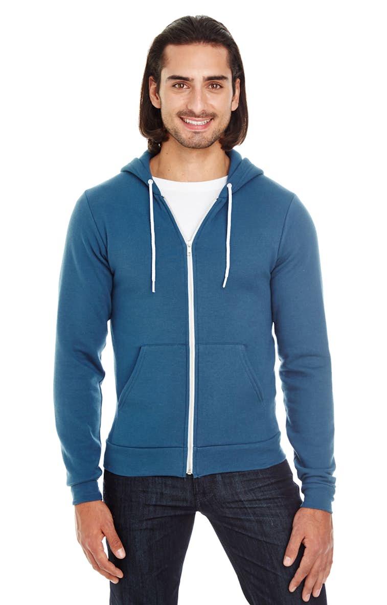 3920bda8 American Apparel F497 Unisex Flex Fleece USA Made Zip Hoodie -  JiffyShirts.com