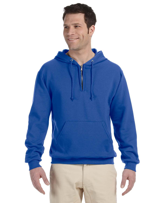 White L 994MR 50//50 NuBlend Fleece Quarter-Zip Pullover Hood Jerzees 8 oz