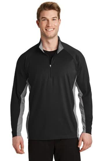 Sport-Tek ST854 Black / Ch Gray Heather