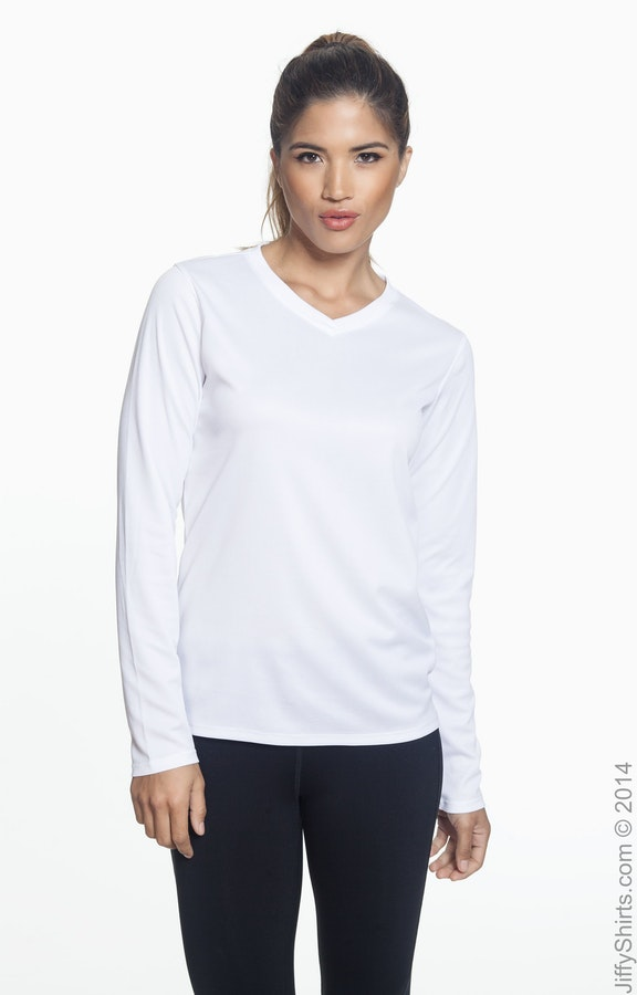 f8968389e54a4 New Balance N7119L Ladies' Ndurance® Athletic Long-Sleeve V-Neck T ...