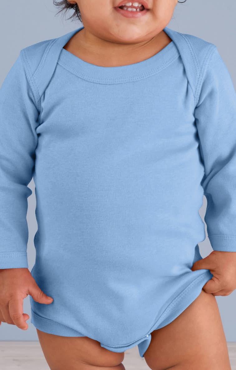 2e8cecb19 Rabbit Skins 4411 Infant Long-Sleeve Baby Rib Bodysuit - JiffyShirts.com