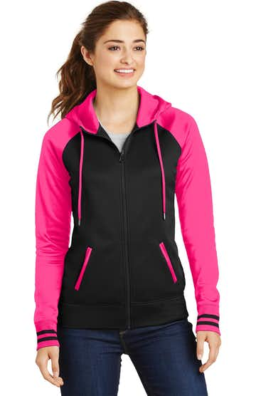 Sport-Tek LST236 Black / Neon Pink