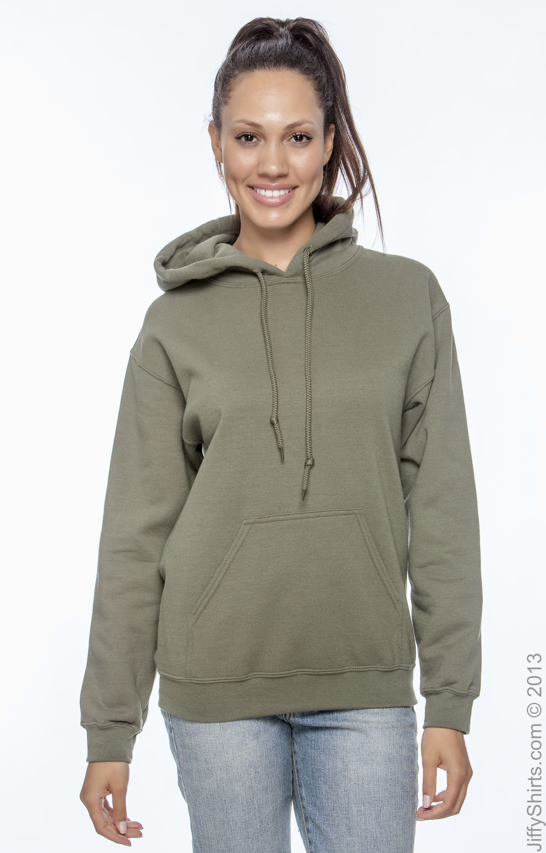 50/% ORGANIC COTTON  Pullover Hooded SWEATSHIRT Green Anvil 8 oz