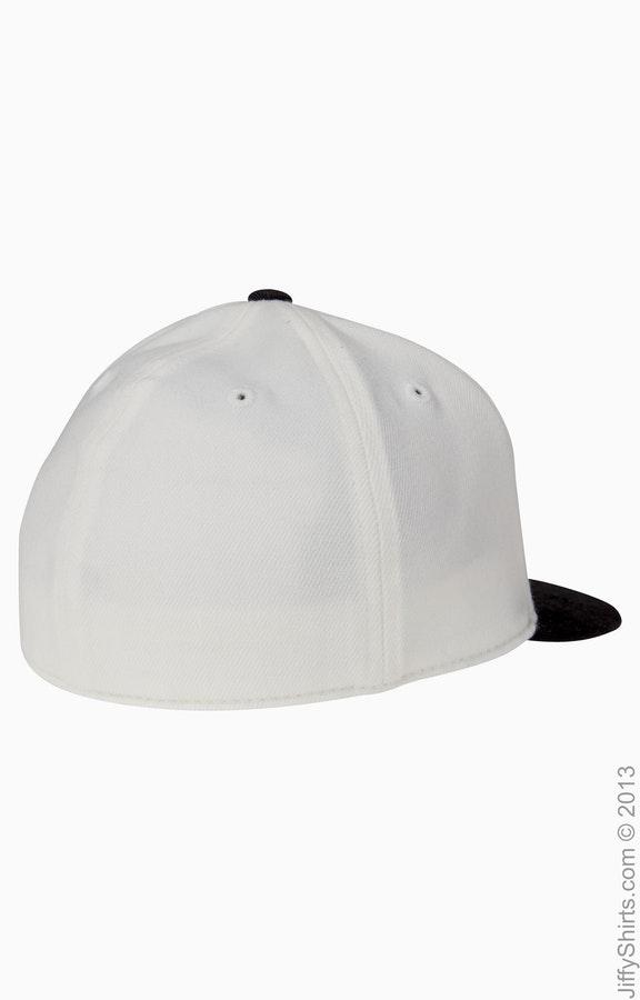 30aa310f5 Flexfit 6210T Black/Purple Adult Premium 210 Fitted® Flat Visor Cap
