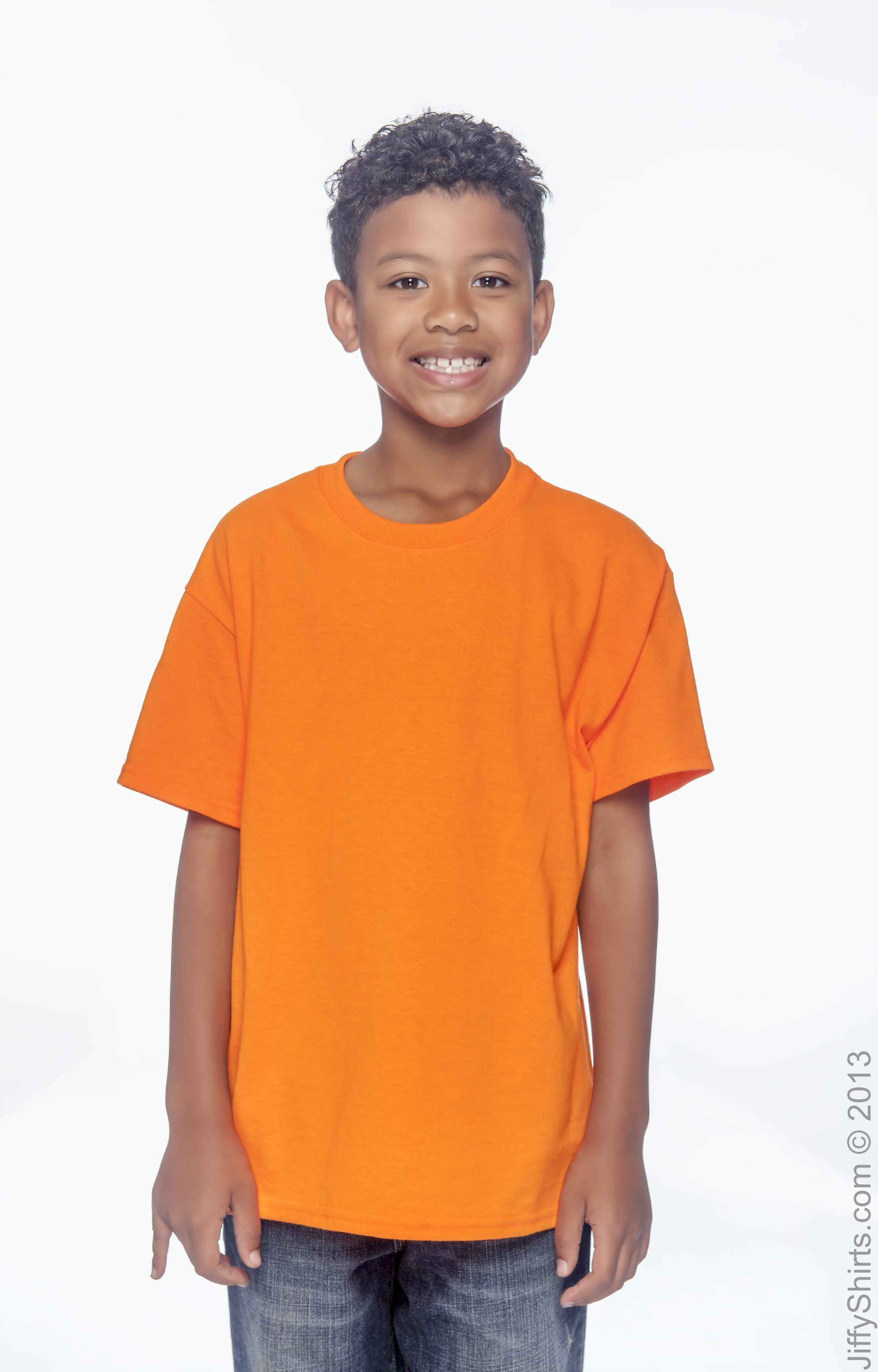 Safety Orange Gildan Big Boys Seamless Double Needle Preshrunk T-Shirt Large