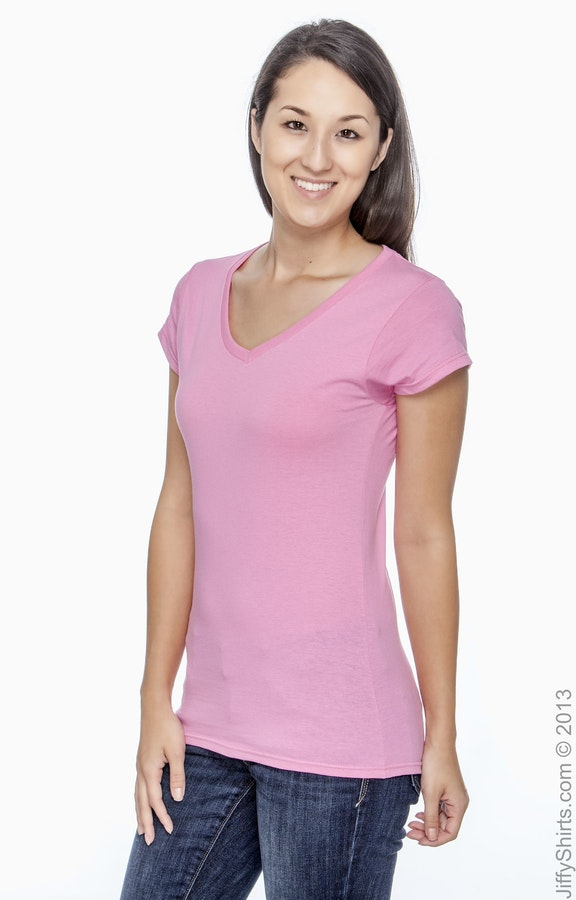 2fc88d443 Gildan G64VL Ladies' SoftStyle® 4.5 oz. Fitted V-Neck T-Shirt ...