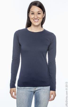 Gildan G644L Ladies' Softstyle® 4.5 oz. Long-Sleeve T-Shirt ...