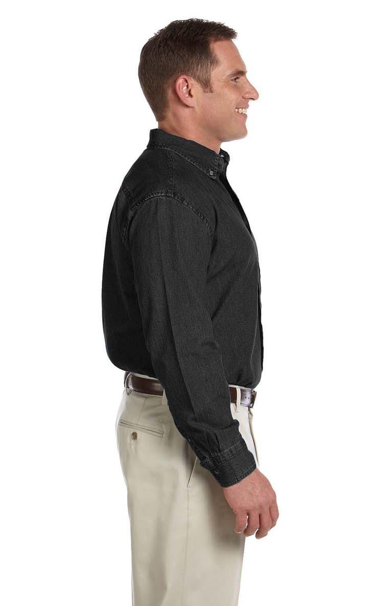 c882eb68d52 Harriton M550T Men s Tall 6.5 oz. Long-Sleeve Denim Shirt - JiffyShirts.com
