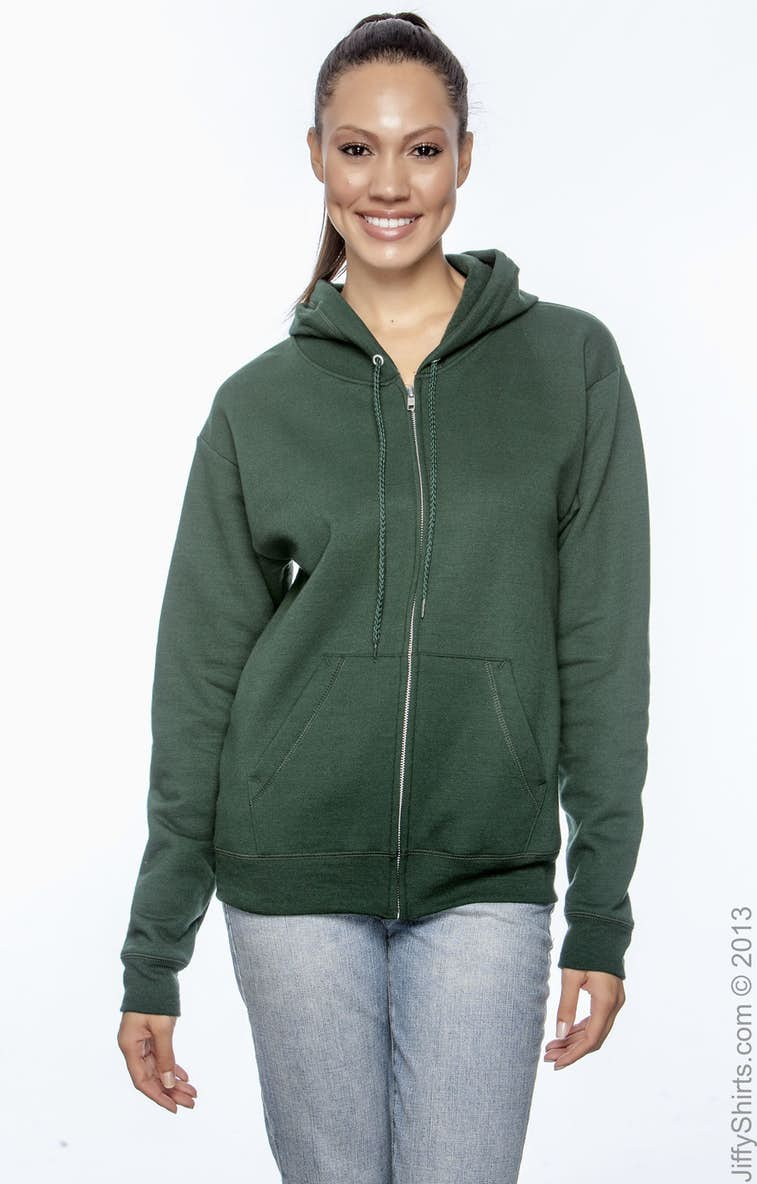 3d1e746e Hanes P180 Adult 7.8 oz. EcoSmart® 50/50 Full-Zip Hood - JiffyShirts.com