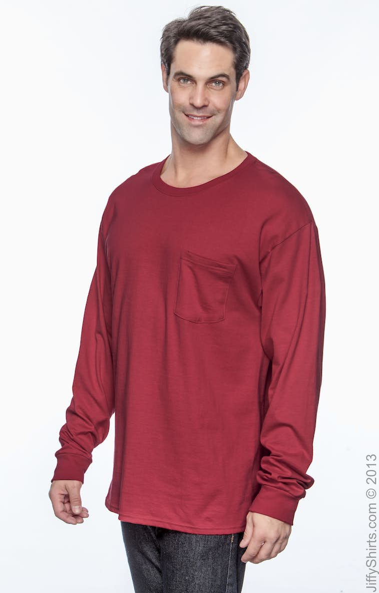 f2f8bebb Hanes 5596 Men's 6.1 oz. Tagless® Long-Sleeve Pocket T-Shirt ...
