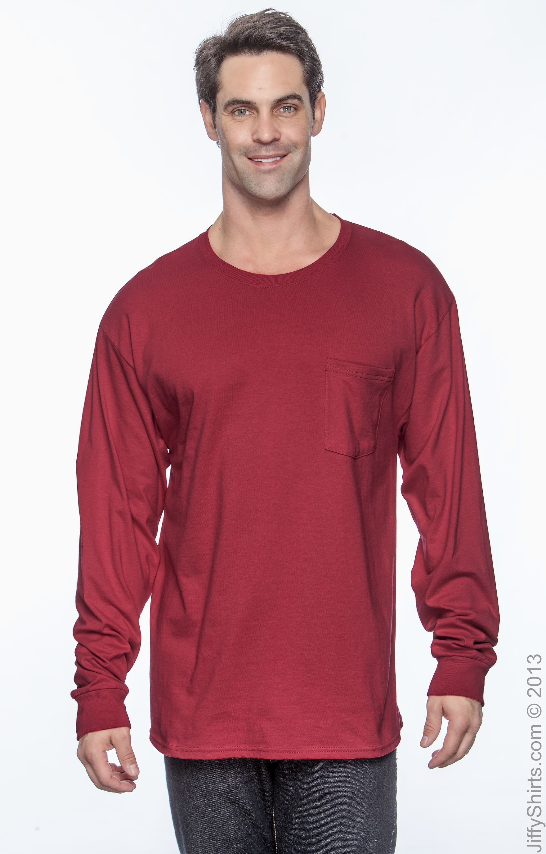 Hanes Tagless Men`s Long-Sleeve T-Shirt with Pocket Light Blue