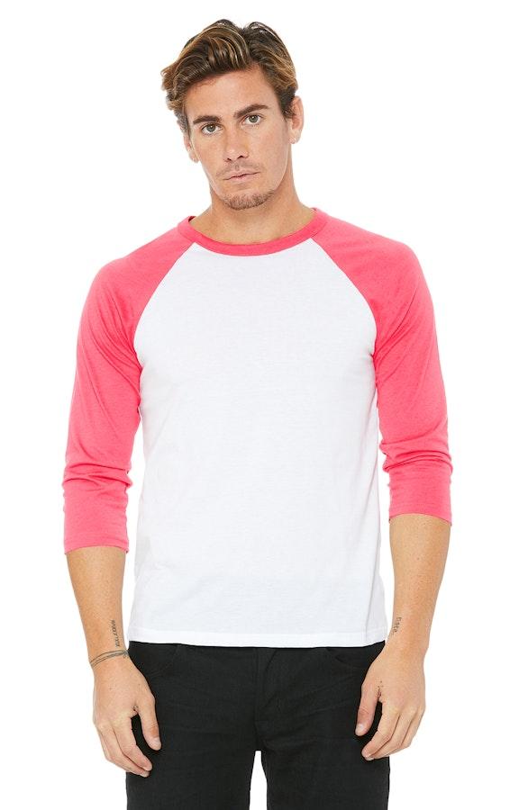 Bella+Canvas 3200 White / Neon Pink