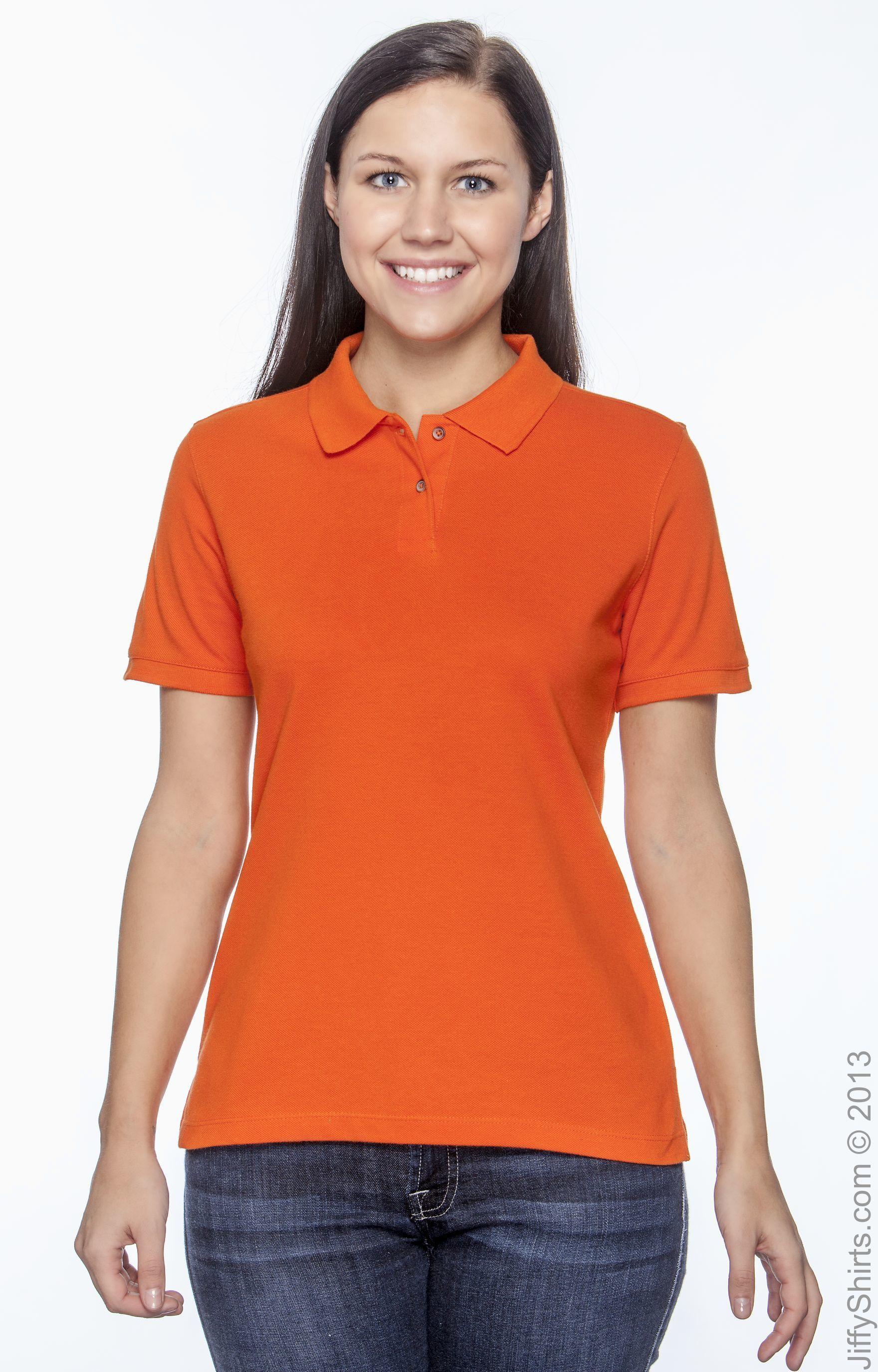 Team Orange XL Harriton Mens Short Sleeve Polo