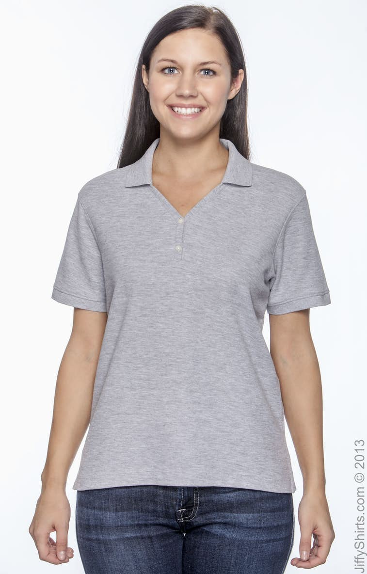 13351e54 Devon & Jones D100W Ladies' Pima Piqué Short-Sleeve Y-Collar Polo ...