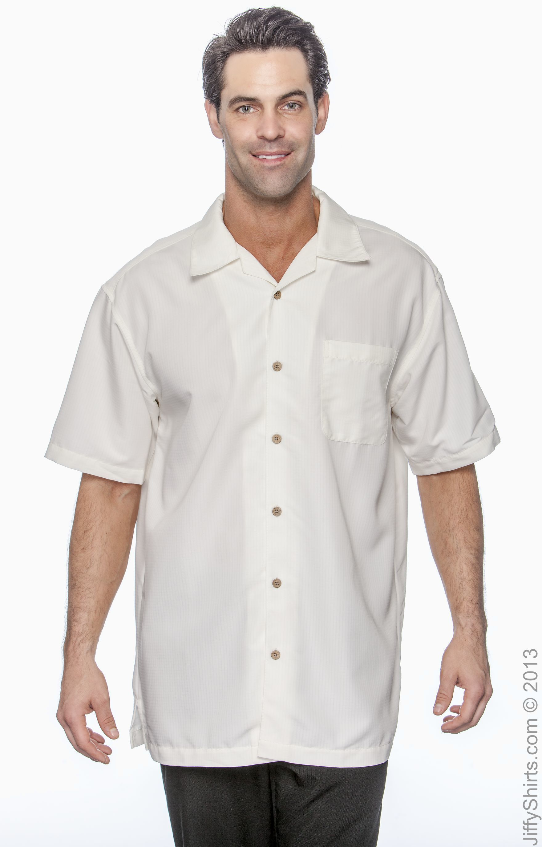 Harriton Mens Barbados Textured Camp Shirt M560