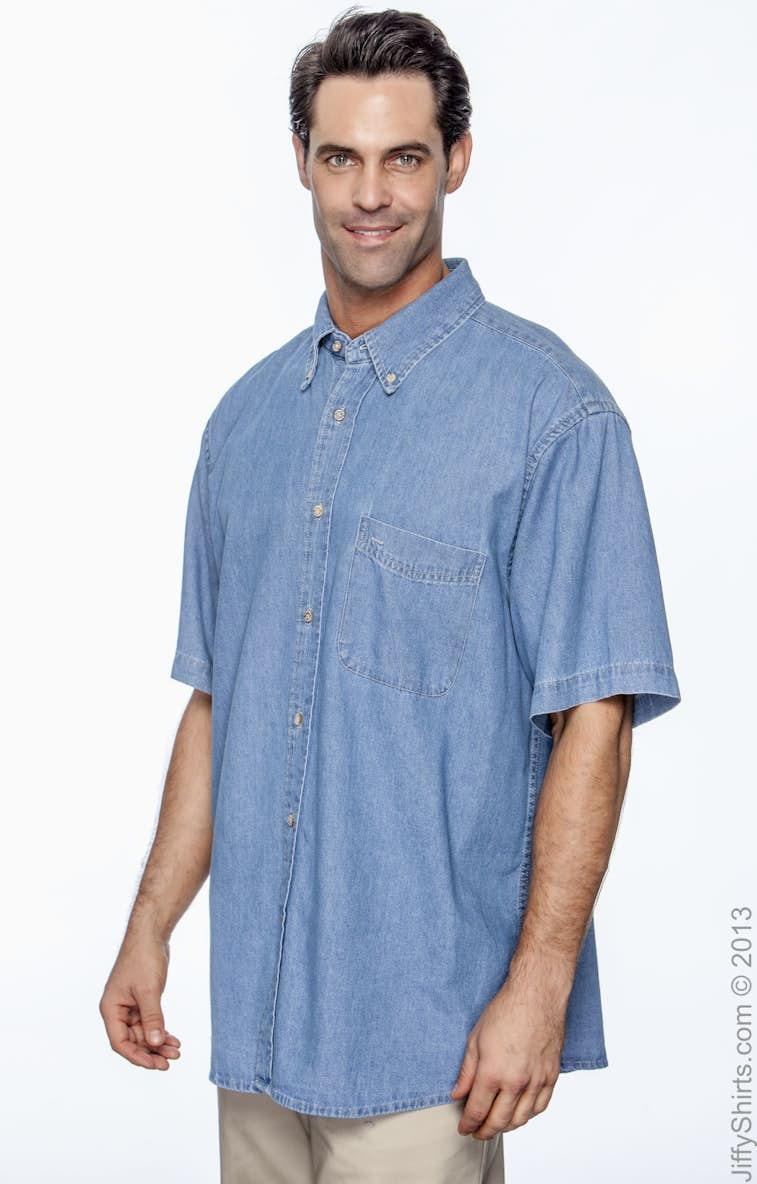 4e819c963b5 Harriton M550S Men s 6.5 oz. Short-Sleeve Denim Shirt - JiffyShirts.com
