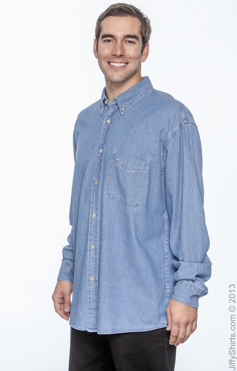 9e9937721a Harriton M550 Men s 6.5 oz. Long-Sleeve Denim Shirt - JiffyShirts.com