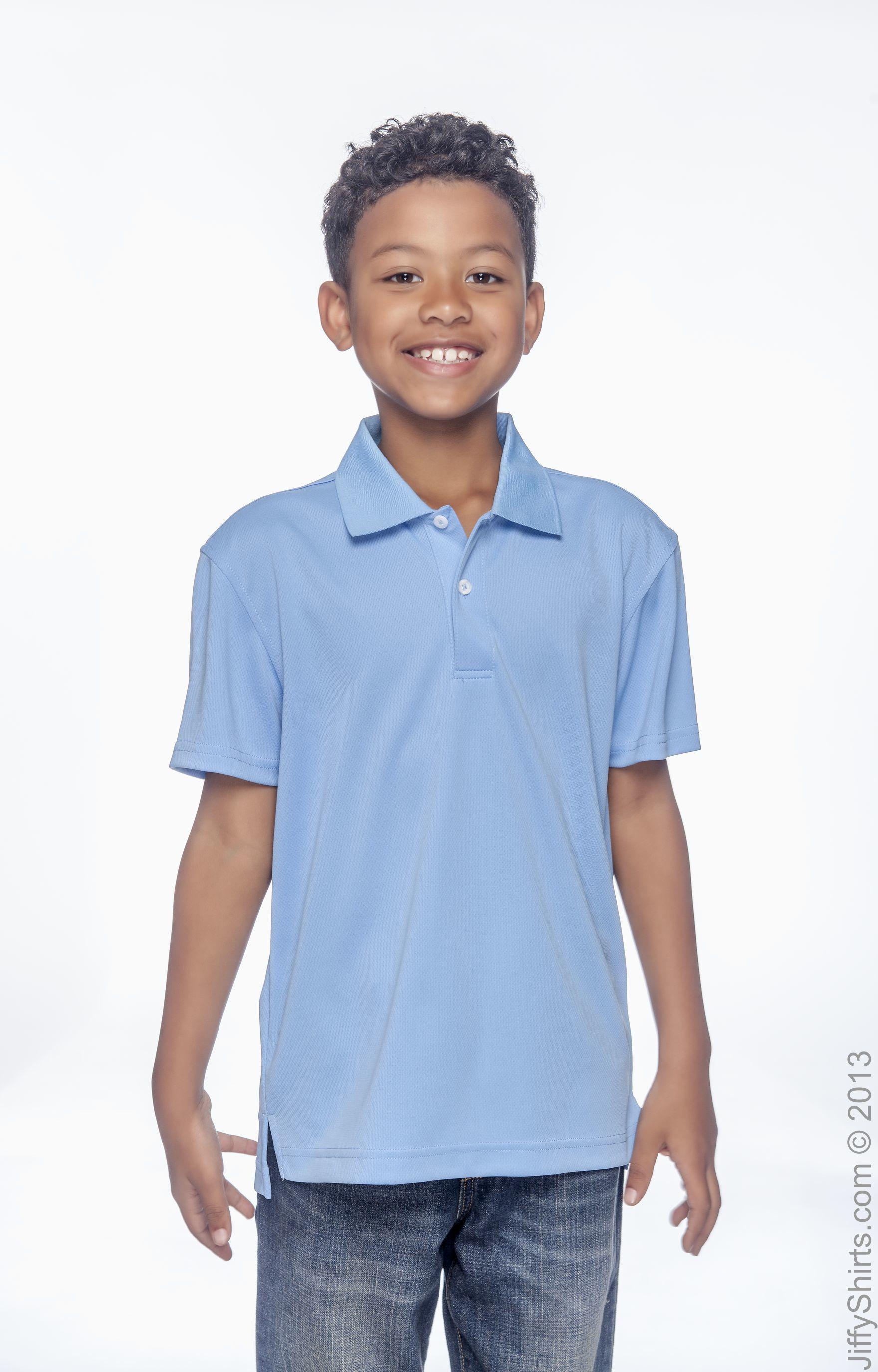 Harriton Youth Double Mesh Sport Shirt CHARCOAL Large