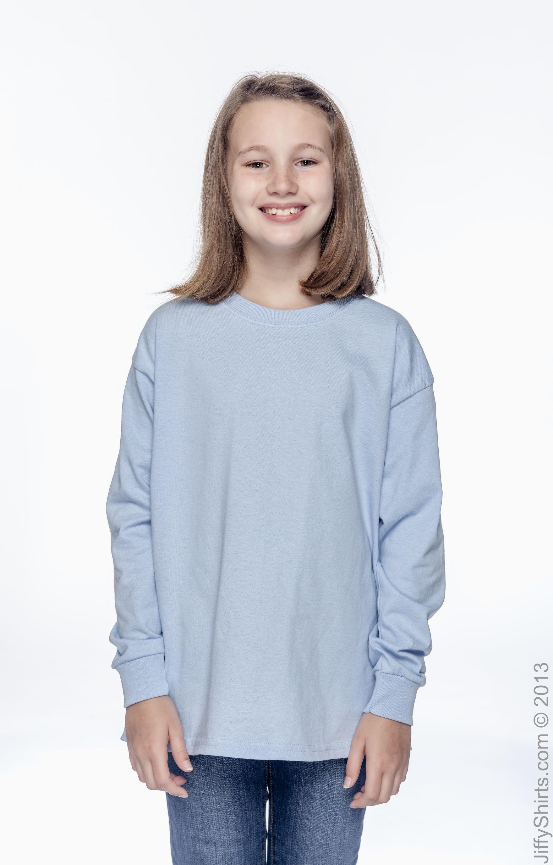 Long-Sleeve T-Shirt G240B - ASH GREY,M Gildan Ultra Cotton Youth 6 oz