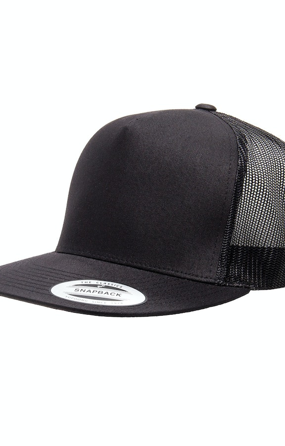 6a696a8c1 Yupoong 6006 Black Adult 5-Panel Classic Trucker Cap