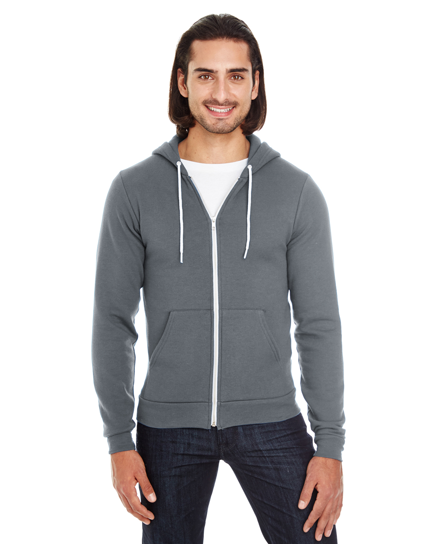 -Asphalt//Forest-M American Apparel Mens Unisex Flex Fleece Zip Hoodie F497