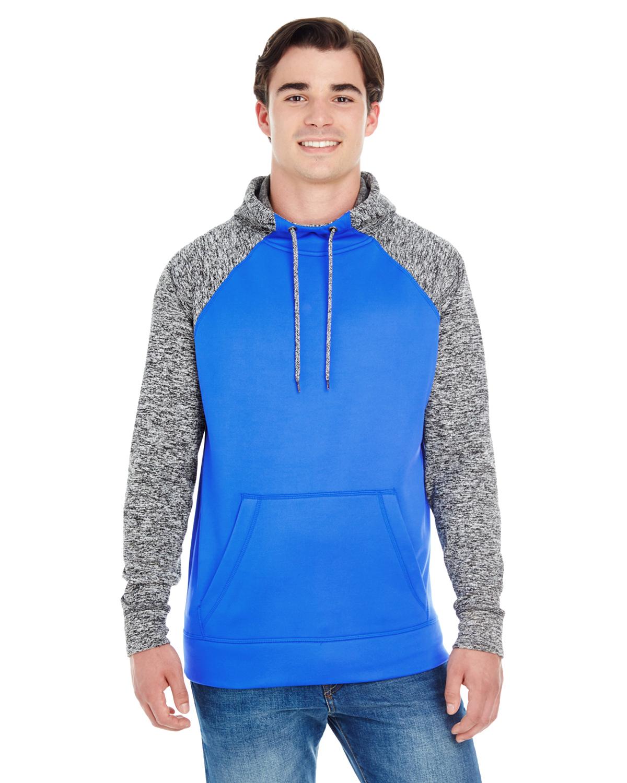 JA8612 J America adult Colorblock Cosmic Pullover Hood