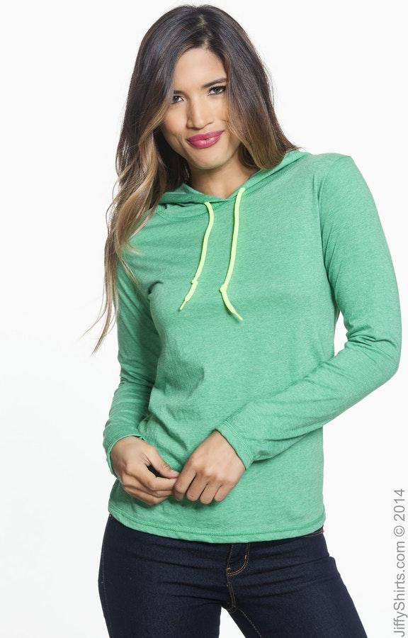 26b16c966 Anvil 887L Ladies' Lightweight Long-Sleeve Hooded T-Shirt ...