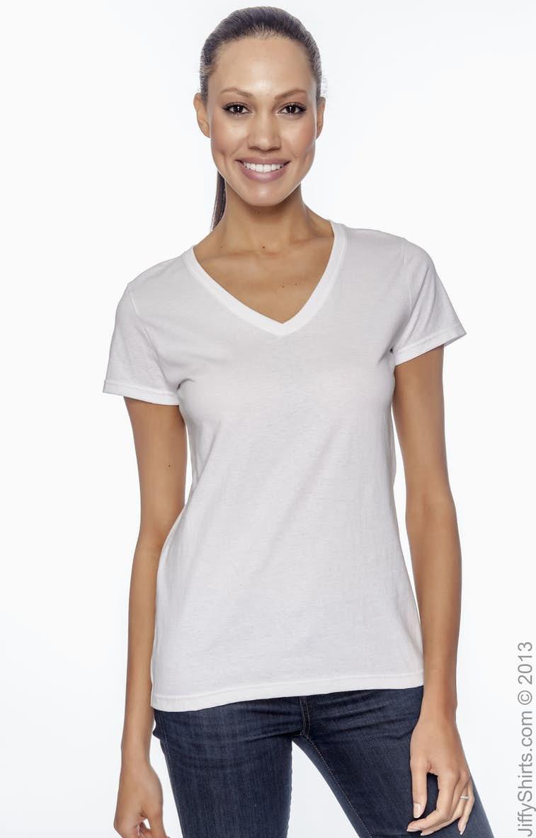 faa2090c54539a Fruit of the Loom L39VR Ladies  5 oz. HD Cotton™ V-Neck T-Shirt ...