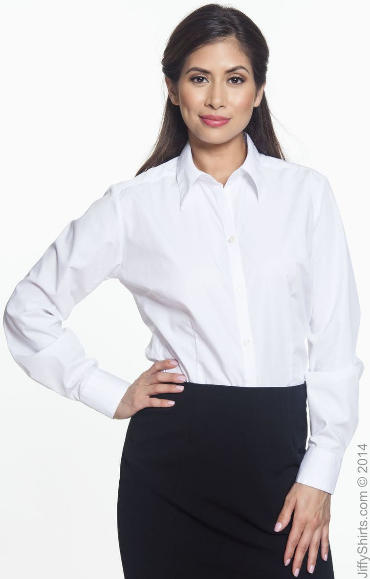 fe75c70b0 Van Heusen 13V0114 Ladies' Long-Sleeve Silky Poplin - JiffyShirts.com