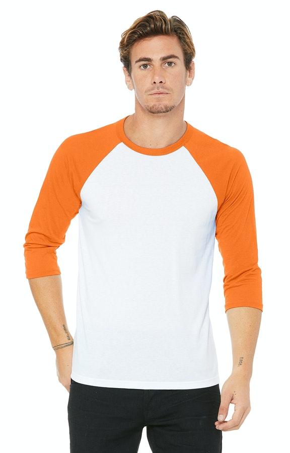 Bella + Canvas 3200 White / Neon Orange