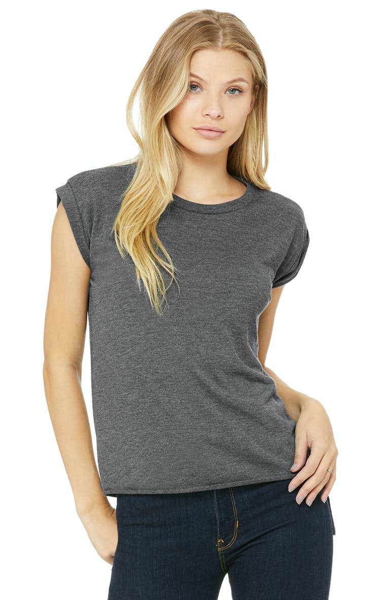 ee6db24a Bella+Canvas 8804 Ladies' Flowy Muscle T-Shirt with Rolled Cuff ...