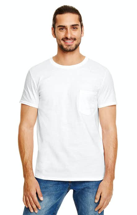 7ba544d1ee66 ... 100% Ringspun Cotton nano-T® T-Shirt with Pocket. Anvil 983 White.  Preview Colors