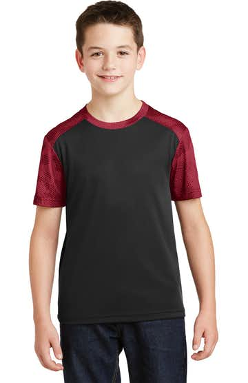 Sport-Tek YST371 Black / Deep Red