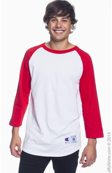 Champion T1397 White/Scarlet