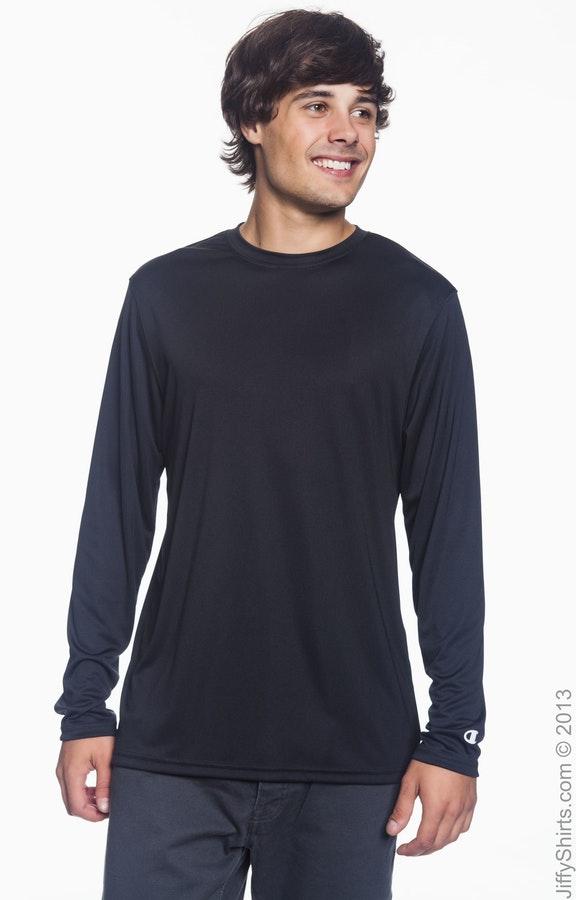 f39e37fde9ea Champion CW26 Adult 4.1 oz. Double Dry® Long-Sleeve Interlock T-Shirt -  JiffyShirts.com