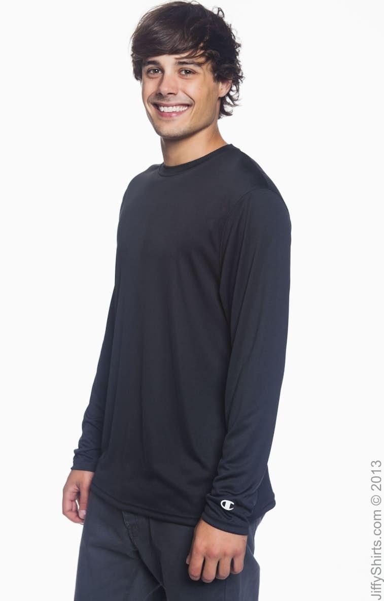 58afabc9 Champion CW26 Adult 4.1 oz. Double Dry® Long-Sleeve Interlock T-Shirt -  JiffyShirts.com