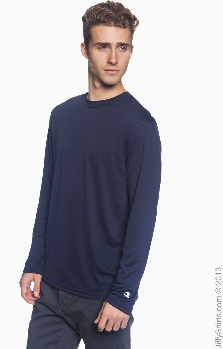 6c175e93 Champion CW26 Adult 4.1 oz. Double Dry® Long-Sleeve Interlock T-Shirt -  JiffyShirts.com