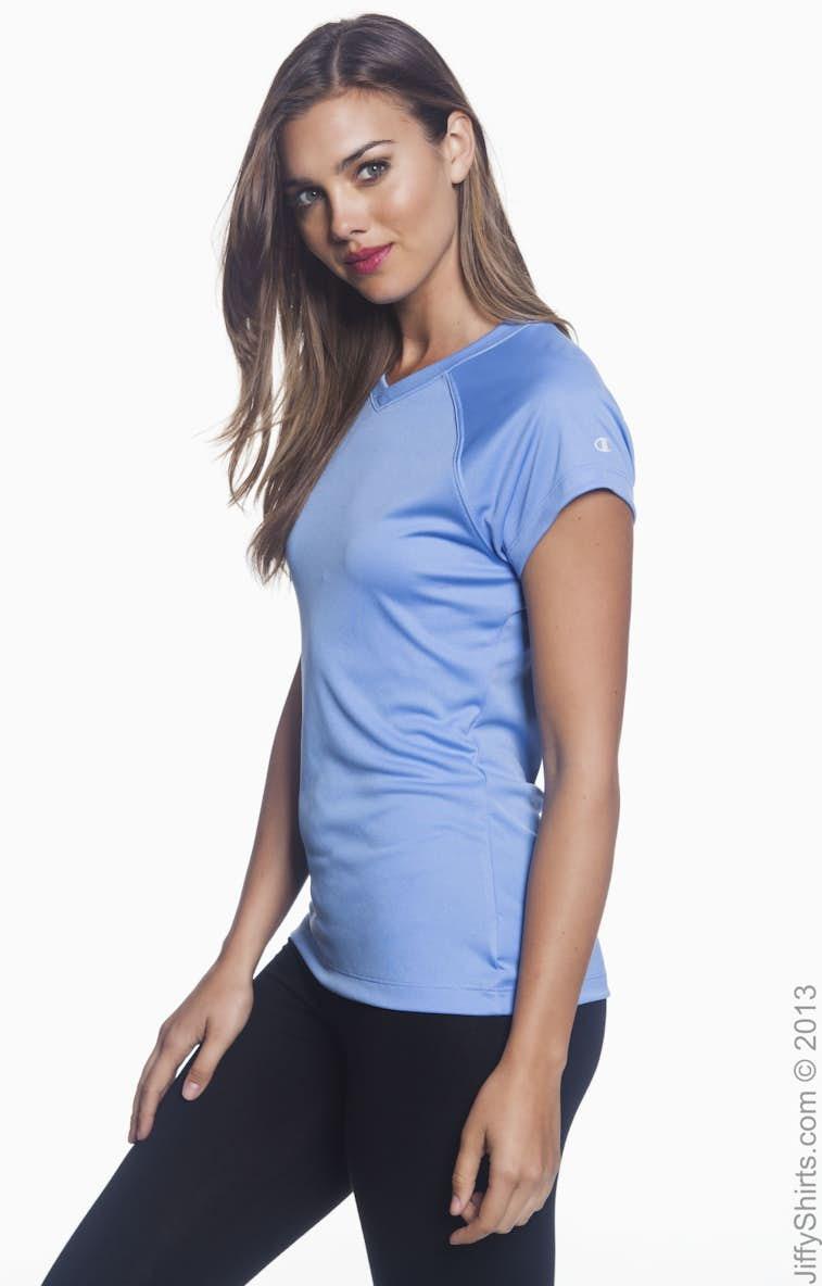 2b61f107 Champion CW23 Ladies' 4.1 oz. Double Dry® V-Neck T-Shirt ...