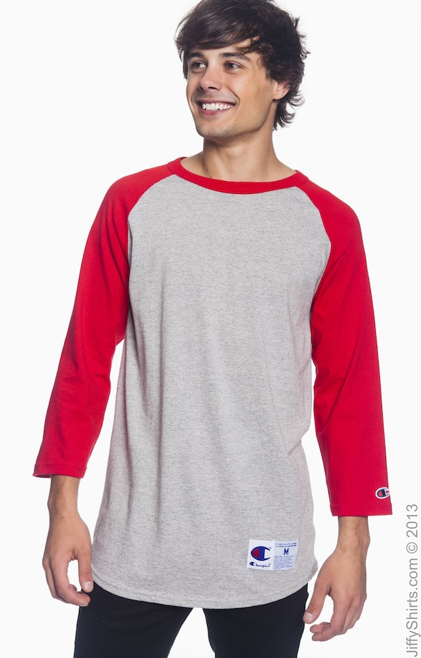 Champion T1397 Oxford/Scarlet