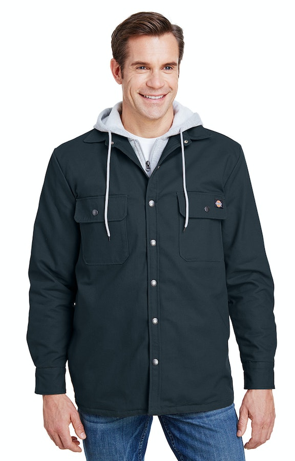 select for clearance outlet drop shipping Dickies TJ203 Dark Navy Men's Hooded Duck Quilted Shirt Jacket