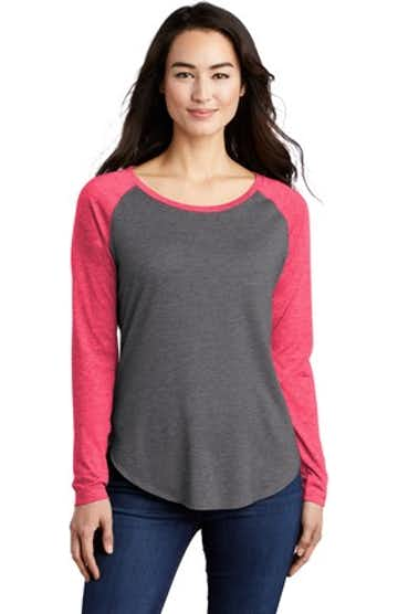 Sport-Tek LST400LS Pink Raspberry Heather / Dark Gray Heather