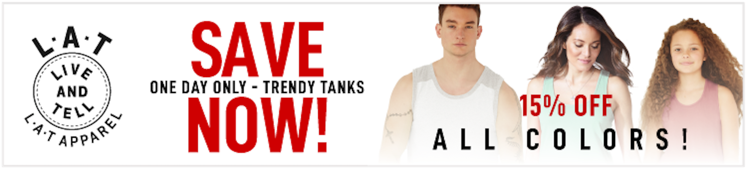 LAT Tank Sale - 15% off all colors