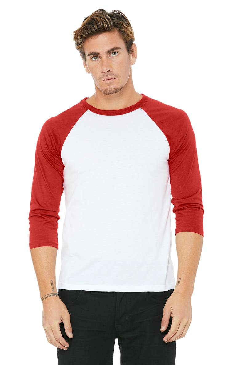 d4fa75e3d313a Bella+Canvas 3200 Unisex 3 4-Sleeve Baseball T-Shirt - JiffyShirts.com