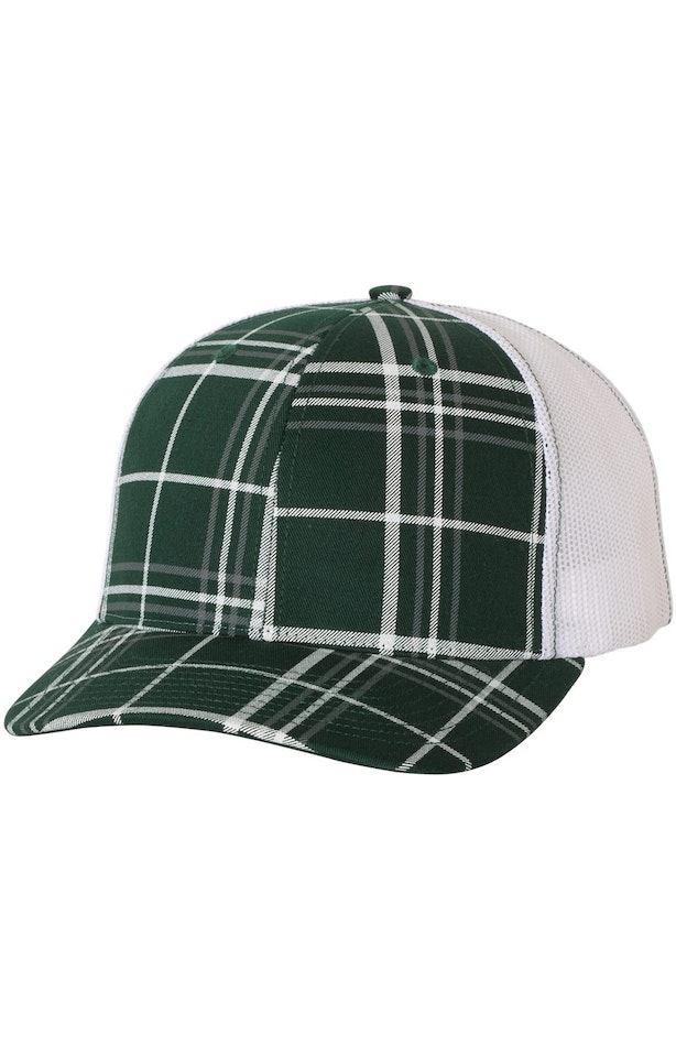 Richardson 112P Plaid Print Dark Green/ Charcoal/ White