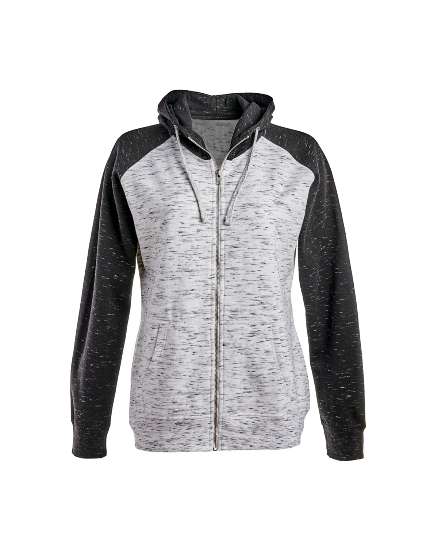 J America 8679JA WHITE BLACK Ladies' Mélange Fleece 2 Tone Full Zip Hooded Sweatshirt