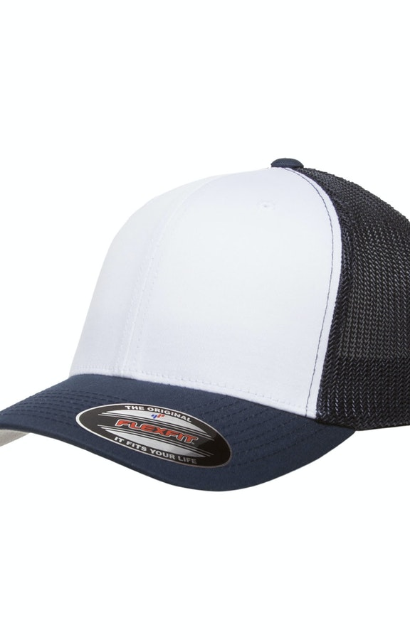 Yupoong 6511W Navy/Wht/Nvy Flexfit Trucker Mesh with White Front Panels Cap