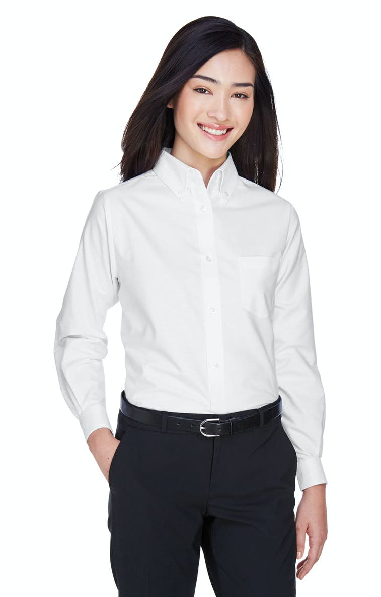 338cd4cf UltraClub 8990 Ladies' Classic Wrinkle-Resistant Long-Sleeve Oxford ...