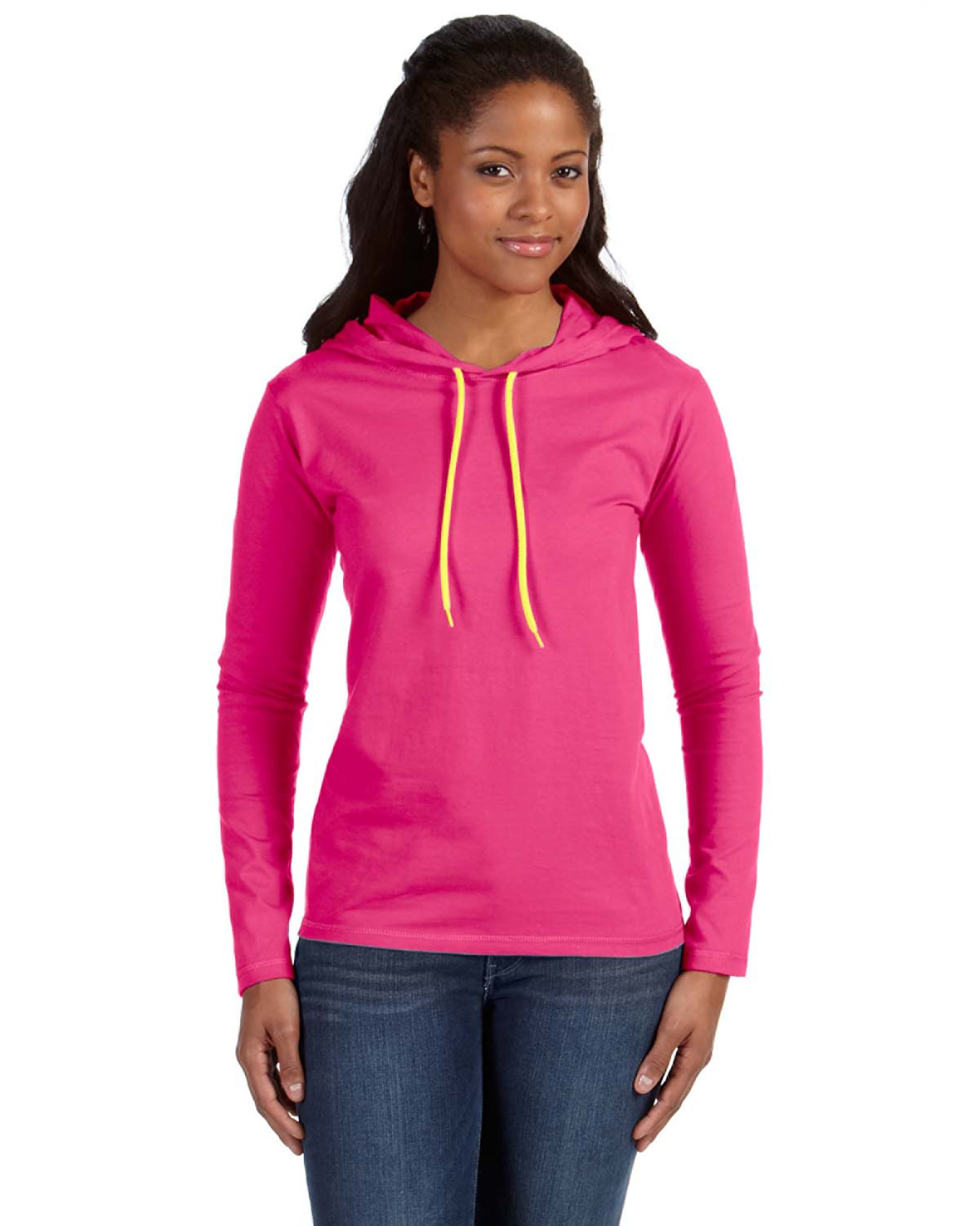 df7d5fe7f Anvil 887L Hot Pink/Neo Yel Ladies' Lightweight Long-Sleeve Hooded T-Shirt