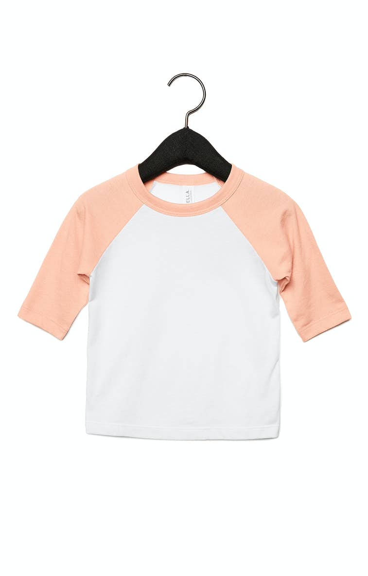 241137e7 Bella+Canvas 3200T Toddler 3/4-Sleeve Baseball T-Shirt - JiffyShirts.com